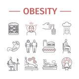 Εικονίδιο Infographics γραμμών παχυσαρκίας Διανυσματικό σημάδι για τη γραφική παράσταση Ιστού απεικόνιση αποθεμάτων