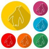 Εικονίδιο Penguin, εικονίδιο χρώματος με τη μακριά σκιά Στοκ Εικόνες