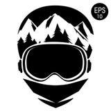 Εικονίδιο Snowboarder επίσης corel σύρετε το διάνυσμα απεικόνισης Ελεύθερος στα προστατευτικά δίοπτρα κρανών και σκι Στοκ Φωτογραφίες
