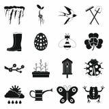 Εικονίδια άνοιξη καθορισμένα, απλό ύφος Στοκ Φωτογραφίες