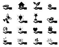 Εικονίδια έννοιας χεριών Στοκ εικόνα με δικαίωμα ελεύθερης χρήσης