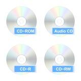 Εικονίδια δίσκων του CD επίσης corel σύρετε το διάνυσμα απεικόνισης Στοκ Φωτογραφία