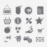 Εικονίδια αγορών καθορισμένα Στοκ φωτογραφίες με δικαίωμα ελεύθερης χρήσης