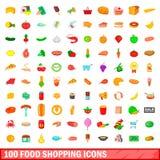 100 εικονίδια αγορών τροφίμων καθορισμένα, ύφος κινούμενων σχεδίων Στοκ Φωτογραφία
