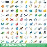 100 εικονίδια αεροπλάνων καθορισμένα, isometric τρισδιάστατο ύφος απεικόνιση αποθεμάτων