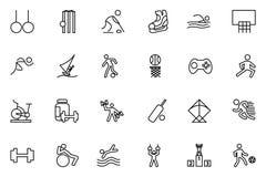 Εικονίδια 4 αθλητικών διανυσματικά γραμμών Στοκ Φωτογραφίες
