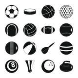 Εικονίδια αθλητικών σφαιρών καθορισμένα, επίπεδο ύφος Στοκ Εικόνα