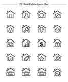 Εικονίδια ακίνητων περιουσιών & σπιτιών καθορισμένα, εικονίδια πάχους γραμμών Στοκ φωτογραφίες με δικαίωμα ελεύθερης χρήσης