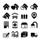 Εικονίδια ακίνητων περιουσιών Στοκ εικόνα με δικαίωμα ελεύθερης χρήσης