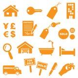 Εικονίδια ακίνητων περιουσιών στοκ φωτογραφία με δικαίωμα ελεύθερης χρήσης