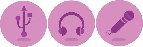 Εικονίδια ακουστικών, μικροφώνων και USB Στοκ φωτογραφίες με δικαίωμα ελεύθερης χρήσης