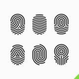 Εικονίδια δακτυλικών αποτυπωμάτων καθορισμένα Στοκ εικόνα με δικαίωμα ελεύθερης χρήσης