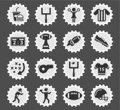 Εικονίδια αμερικανικού ποδοσφαίρου απλά Στοκ Εικόνες