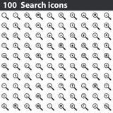 100 εικονίδια αναζήτησης καθορισμένα Στοκ Φωτογραφία