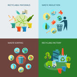 Εικονίδια ανακύκλωσης και μείωσης αποβλήτων καθορισμένα διανυσματική απεικόνιση