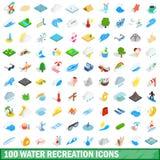 100 εικονίδια αναψυχής νερού καθορισμένα, isometric τρισδιάστατο ύφος διανυσματική απεικόνιση