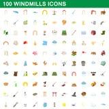 100 εικονίδια ανεμόμυλων καθορισμένα, ύφος κινούμενων σχεδίων Στοκ Φωτογραφίες
