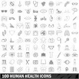 100 εικονίδια ανθρώπινων υγειών καθορισμένα, περιγράφουν το ύφος απεικόνιση αποθεμάτων
