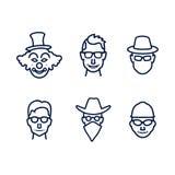 Εικονίδια ανθρώπων με τα πρόσωπα Στοκ Φωτογραφία