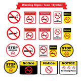 Εικονίδια απαγόρευσης του καπνίσματος που τίθενται στο άσπρο υπόβαθρο Στοκ φωτογραφία με δικαίωμα ελεύθερης χρήσης