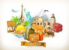 Εικονίδια απεικόνισης ταξιδιού Στοκ εικόνες με δικαίωμα ελεύθερης χρήσης
