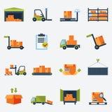 Εικονίδια αποθηκών εμπορευμάτων επίπεδα ελεύθερη απεικόνιση δικαιώματος