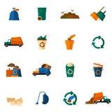 Εικονίδια απορριμάτων επίπεδα Στοκ Εικόνα