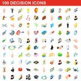 100 εικονίδια απόφασης καθορισμένα, isometric τρισδιάστατο ύφος Στοκ Εικόνες