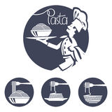 Εικονίδια αρχιμαγείρων με το πιάτο των ζυμαρικών ελεύθερη απεικόνιση δικαιώματος