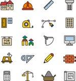 Εικονίδια αρχιτεκτονικής και κατασκευής Στοκ Φωτογραφία