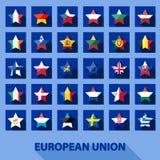 Εικονίδια αστεριών με τις σημαίες ευρωπαϊκών ενώσεων Στοκ Εικόνα