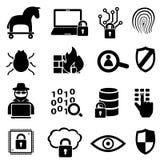 Εικονίδια ασφάλειας και στοιχείων Cyber Στοκ Εικόνα