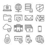 Εικονίδια ασφάλειας τεχνολογίας πληροφοριών Σαφής γραμμή απεικόνιση αποθεμάτων