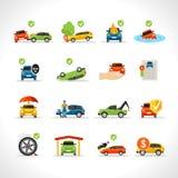 Εικονίδια ασφαλείας αυτοκινήτου καθορισμένα διανυσματική απεικόνιση