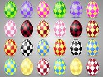 Εικονίδια αυγών Πάσχας με τα τετράγωνα Αυγά για τις διακοπές Πάσχας Στοκ Εικόνες