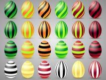 Εικονίδια αυγών Πάσχας με τις γραμμές Αυγά για τις διακοπές Πάσχας Στοκ Εικόνες