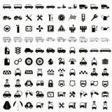 100 εικονίδια αυτοκινήτων και μεταφορών Στοκ εικόνες με δικαίωμα ελεύθερης χρήσης