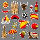 Εικονίδια αυτοκόλλητων ετικεττών της Ισπανίας καθορισμένα Ισπανικά παραδοσιακά σύμβολα και αντικείμενα διανυσματική απεικόνιση