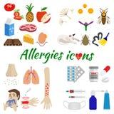 Εικονίδια αλλεργίας καθορισμένα Στοκ Εικόνα