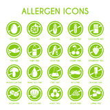 Εικονίδια αλλεργιογόνου καθορισμένα Στοκ φωτογραφία με δικαίωμα ελεύθερης χρήσης