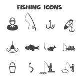 Εικονίδια αλιείας Στοκ εικόνες με δικαίωμα ελεύθερης χρήσης