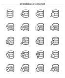 Εικονίδια βάσεων δεδομένων καθορισμένα, εικονίδια πάχους γραμμών Στοκ εικόνες με δικαίωμα ελεύθερης χρήσης