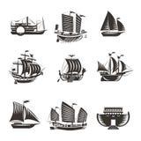 Εικονίδια βαρκών και σκαφών καθορισμένα Στοκ Φωτογραφία