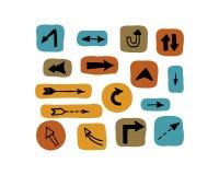 εικονίδια βελών που τίθενται καρικατούρα επίσης corel σύρετε το διάνυσμα απεικόνισης Στοκ Εικόνες