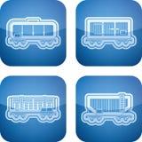 Εικονίδια βιομηχανίας: Μεταφορά σιδηροδρόμου Στοκ Φωτογραφία