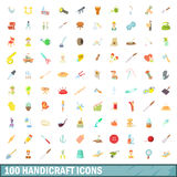100 εικονίδια βιοτεχνίας καθορισμένα, ύφος κινούμενων σχεδίων Στοκ φωτογραφίες με δικαίωμα ελεύθερης χρήσης