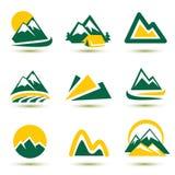 Εικονίδια βουνών που τίθενται απεικόνιση αποθεμάτων