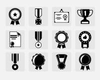 Εικονίδια βραβείων καθορισμένα Στοκ εικόνες με δικαίωμα ελεύθερης χρήσης