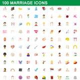 100 εικονίδια γάμου καθορισμένα, ύφος κινούμενων σχεδίων Στοκ Φωτογραφίες