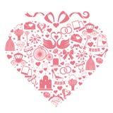 Εικονίδια γαμήλιου σχεδίου για τον Ιστό και κινητός στη σύνθεση καρδιών Στοκ φωτογραφίες με δικαίωμα ελεύθερης χρήσης
